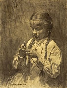 'Little Girl Knitting' by Daniel Garber.  It features the artist's eleven year old daughter, Tanis, in the process of knitting. Drawn in charcoal.  Tanis is bathed in light shining from above as she intently focuses on her task.