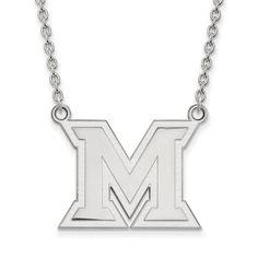 Sterling Silver LogoArt Miami University Large Pendant w/Necklace