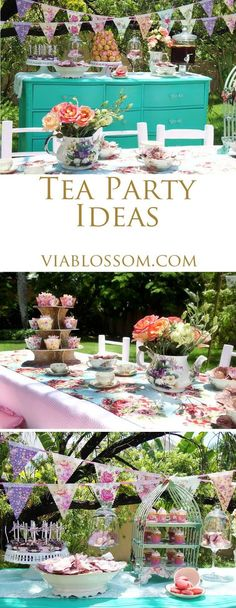 Tea party ideas at the Via Blossom Blog!  Everything you'll need for your Tea Party including Tea Party Decorations and Party Supplies!