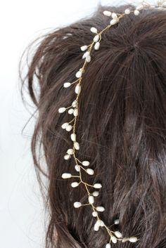 Bridal wedding pearl tiara headband headpiece by InBlossoms, $57.00