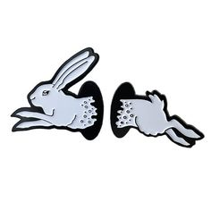 "Two Pin Set 1.25"" & 1.16"" Soft Enamel Black Metal Plated Lapel Pin w/ dual post black rubber backers"