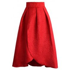 Just like a beautiful tulip bud, this skirt is crafted form floral pattern embossed fabrication and features an elegant autumn hue. Perfect with variety kinds of top, this floral wonder is giving passersby every reason to take a second look.  - Floral embossed pattern - Hi-lo hemline - Concealed back zip closure - 100% polyester - Hand wash Size(cm)  Length  Waist XS       60-79    64 S        60-79    68 M       60-79   72 L        60-79    76…
