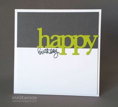 MASKerade: WPlus9 die hanging over the grey/white border and SSS 'Birthday'.