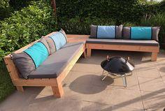 Pallet Bank, Pallet Lounge, Diy Pallet Furniture, Outdoor Furniture, Big Pillows, Diy Couch, Outdoor Sofa, Outdoor Decor