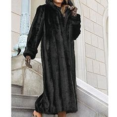 """Animal Print Trim Dress Coat ⬇️⬇️🚫NO TRADES🚫 Gorgeous, soft, solid black faux fur coat with black/grey leopard print fur trim running down the front and around wrist cuffs.  Hook and eye front closures and front slit pockets.  Midi length, approx 48"""" from neck to bottom.  Perfect condition.  Dry clean.  🚫NO TRADES🚫 Cache Jackets & Coats"""