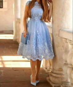 outfit blue lace dress with blue handbag Frock Fashion, Modest Fashion, Fashion Dresses, Ladies Fashion, Blue Homecoming Dresses, Bridesmaid Dresses, Stunning Dresses, Pretty Dresses, Dress Skirt
