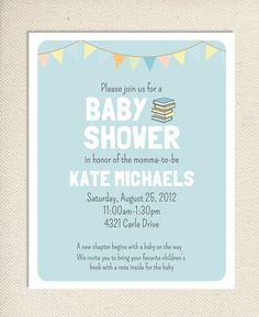Baby Book Shower Printable Invitation - Aqua