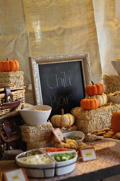 A chili bar would be a quick, easy and affordable way to feed guests at a fall baby shower! Chili Bar Party, Buffets, Fall Birthday Parties, Fall Birthday Decorations, Harvest Birthday Party, Fall Themed Parties, Harvest Party Decorations, November Birthday Party, Fall First Birthday