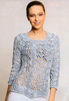 Ажурный легкий пуловер реглан связанный спицами