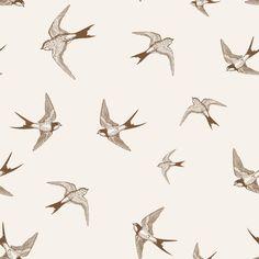 Papel de parede pássaros andorinhas marrom e bege claro 001