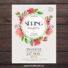 Цветочные весна партия плакат Premium векторы
