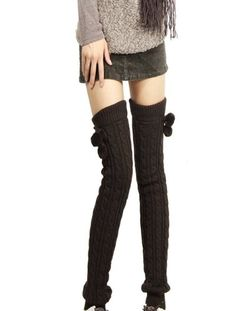 Women Long Thick Ribbed Cable Knit Trimmed Pompon Soft Leg Warmers $13.99 (42% OFF)