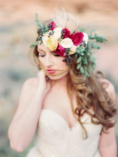 Southwest Desert Bridal Inspiration   See a fun wedding idea -- a floral bar where guests would design & create their own  simple crowns and boutonnieres as an activity and a favor. Cute idea! Read more on Style Me Pretty:  http://www.StyleMePretty.com/2014/03/14/southwest-desert-bridal-inspiration/ Photography: Ashley Sawtell   Floral Design: Bare Root Flora