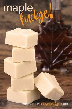 easy microwave maple fudge recipe produces the creamiest maple fudge you will ever taste. It has all the maple flavor you love in a traditional fudge without all of the fuss. No candy thermometer needed! Maple Fudge Recipes, Easy Cookie Recipes, Candy Recipes, Maple Syrup Fudge Recipe, Maple Candy Recipe, Maple Dessert Recipes, Lemon Fudge Recipe, Holiday Recipes, Yummy Recipes