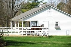 Horse by Small White Barn Stock Photo Horse Stables, Horse Farms, Horse Pens, Small Barns, Ranch Decor, Future Farms, Dream Barn, White Barn, Barn Plans