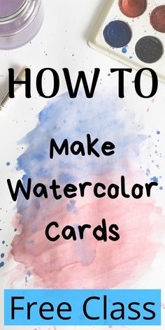 Free class Learn how to make simple watercolor cards that youll enjoy making just as much as your friends and family Create elegant motifs using watercolor and simple bru. Watercolor Painting Techniques, Watercolor Projects, Watercolor Tips, Watercolour Tutorials, Painting Lessons, Watercolor Cards, Watercolour Painting, Art Lessons, Watercolors