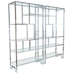 Pair of Mid-Century Modern Chrome Etageres by Milo Baughman for Thayer Coggin   From a unique collection of antique and modern bookcases at https://www.1stdibs.com/furniture/storage-case-pieces/bookcases/