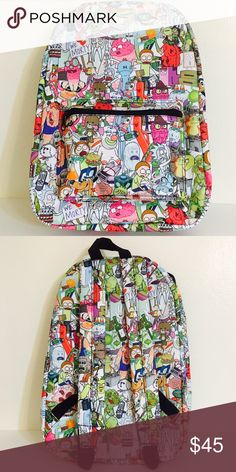 "Rick and Morty Sublimated Backpack Get ready to take a inter-dimensional adventure with this Rick and Morty backpack! This bag's print features awesome illustrations featuring Rick and Morty as well as some of the friends they have made along the way! The measurements for this backpack are about 19"" (height) x 14"" (width). This backpack is officially licensed by Bioworld and is brand new and authentic! No trades or lowballs! Thank you! Bioworld Bags Backpacks"