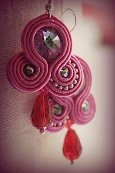 Pink soutache earrings