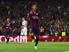 Neymar of Barcelona celebrates as he scores their second goal during the UEFA Champions League Quarter Final second leg match between FC Barcelona and Paris Saint-Germain at Camp Nou on April 21, 2015 in Barcelona, Catalonia.