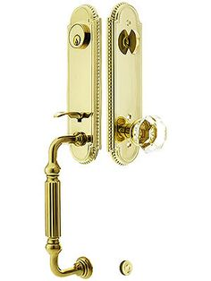 Doorsets. Lancaster Door Set With Scroll Design Levers Right Hand Privacy In Satin Nickel