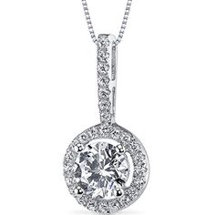 Sterling Silver Halo Style Round Cut 1.1 Carats Cubic Zirconia Pendant Necklace. 28 pcs Machine Cut Super Sparkling White Cubic Zirconia. Latest Micro Pave Design. Pendant Includes an 18 inch Rhodium Nickel Finished Sterling Silver Box Chain. Pure .925 Sterling Silver with Rhodium Nickel Finishing. Includes Jewelry Gift Box and a 30 Day Easy Returns Policy.