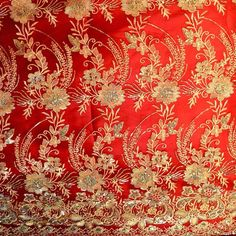 Red Raj Golden Embroidery With Gold Sequin Flower Sari Border 100% Polyester Mesh 55 Inch Wide Fabric By the Yard JN00335
