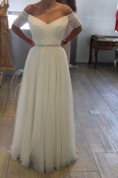 Short-Sleeve-Beach-Wedding-Gown-Ivory-White-Bridal-Dress-Size-6-8-10-12-14-16