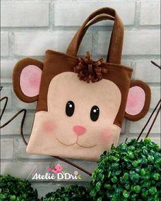 No photo description available. Monkey Bag, Animal Bag, Fabric Toys, Jute Bags, Tote Pattern, Denim Bag, Baby Kind, Little Bag, Kids Bags
