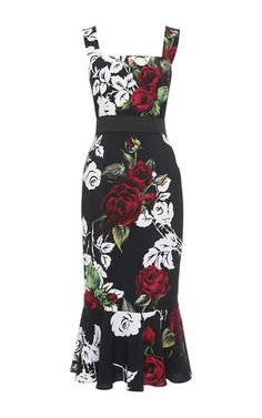 Rose Print Flounce Hem Dress by Dolce & Gabbana Now Available on Moda Operandi