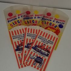 Lot of 50 Old 1950/'s RINGLING Bros Peanut Bags CIRCUS Popcorn BARNUM BAILEY