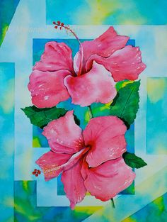 Tropical Hibiscus ORIGINAL 12x16 floral pink coral turquoise hawaii island florida caribbean Watercolor Painting by Melanie Pruitt EBSQ on Etsy, $150.00