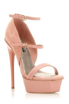 Adrienne Maloof Val High Heel Sandals In Rose Leather - Beyond the Rack