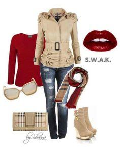 Burberry bag, scarf, jacket
