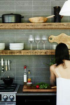 Kitchen-Love the open shelving