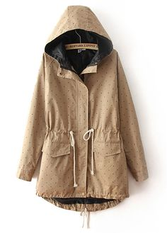 beige and dot trench coat