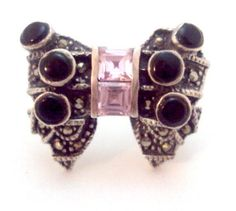 Sterling Silver Onyx Pink Crystal BOW Marcasite Ring by bitzofglitz4u on Etsy