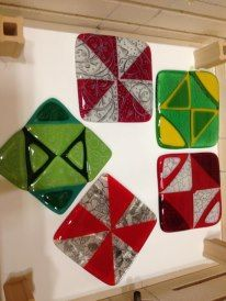 Stamped and fused tiles at the Glass Craft and Bead Expo