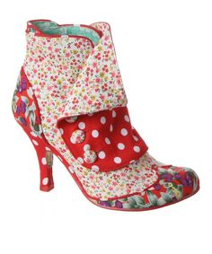 Red & White Spat Attack Bootie by Irregular Choice