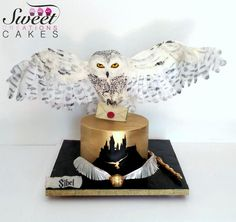 Harry Potter themed cake : gravity defying landing Hedwig owl - cake by Sweet Creations Cakes Harry Potter Desserts, Bolo Harry Potter, Gateau Harry Potter, Harry Potter Birthday Cake, Theme Harry Potter, Gravity Defying Cake, Gravity Cake, Baby Motiv, Pretty Birthday Cakes