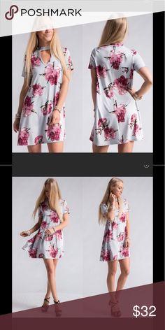 Grey Floral Print Choker Neck Swing Dress. Grey Floral Print Choker Neck Swing Dress. 96% Rayon 4% Spandex. Made in 🇺🇸 Dresses Mini