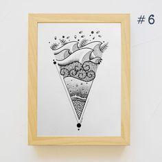 #6 Dessin Marin - MAD BZH - Pièce unique - Fait Main Poster Surf, Triangle, Tattoos, Unique, Handmade, Creative Area, Sailor, Drawings, Tatuajes