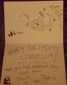 cute birthday card from Phil and Dan ;-)