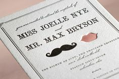Vintage wedding invited from minted.com.  Stache + Kiss Letterpress Wedding Invitations