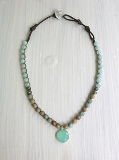 Bohemian crochet necklace Sandpiper seafoam by 3DivasStudio, $62.00