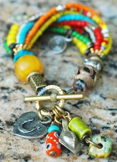 Exotic, Soulful and Colorful Beaded Bohemian Charm Bracelet