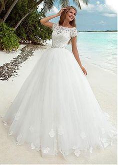 comprar Encaje Fabuloso y tul Bateau escote de bola vestido de novia con encaje apliques y de las lentejuelas de descuento en Dressilyme.com
