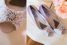 Wedding shoes peep toe platform high heels by beccaandlouise