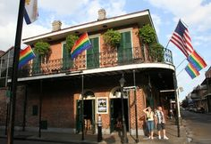 """Bourbon Pub & Parade @ 801 Bourbon Street - 13-Oct-13 - We saw a comedy (or so they said) show here Sat night, but then we sat out on the second floor balcony people watching on Bourbon Street.  Sandy......""""if Denny dressed in Drag he would look like that."""""""