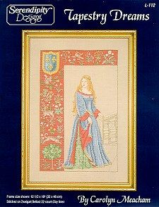 Serendipity Designs - Tapestry Dreams A framework of Cluny tapestry encases a lovely medieval maid.  Her hand is resting on a staircase.  The details of her gown and under-gown are fabulous!  Design size is 147 stitches across by 232 stitches high. ...